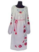 Вышитое платье Маки с васильками