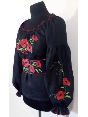 Вышиванка женская с поясом в народном стиле