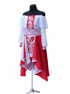 сценический женский костюм ′Червоне з білим′
