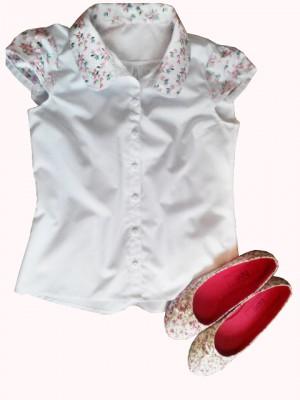 Рубашка с вышитым  рукавчиком и воротником, под обувь