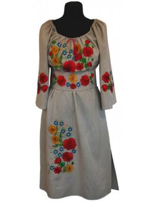 """платье в народном стиле с вышитым поясом  """"Полевые цветы"""""""