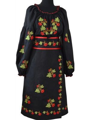 """Украинский народный костюм черного цвета с орнаментом """"калина"""""""